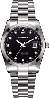 REGINALD Fashion Unisex Watch Luminous Hands Sapphire Silver Stainless Steel Quartz Diamond Dial Watches