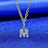 bifriend S925 Plata 26 Inicial inglés Carta Crystal Cadena Collar para Mujeres Chica Mejor Regalo (M)