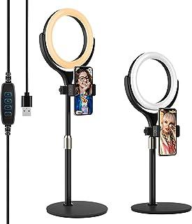 Yoozon Mini Anillo de Luz LED fotográfica de Escritorio, 3 Colores y 10 Brillos. Altura Ajustable con Soporte de teléfono ...