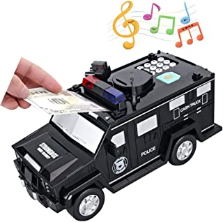 TACY Kids Money Bank, Electronic Piggy Bank Black Code Armored Car Password Piggy Banks, Mini ATM Cash Coin Bank with Lights and Music Money Safe Coin Box for Children Fun Gifts Toy (Black)