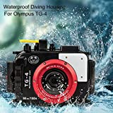 Sea Frogs 195FT/60M Underwater Camera Waterproof Diving housing for Olympus TG-4 Black (Housing + Red Filter)