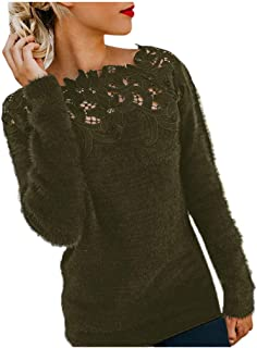 Remanlly Womens Casual Long Sleeve Solid Lace Flully Patchwork Pullover Plus Size Top Blouse