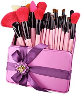 32 PCS Pink Makeup Brush Set Red Natural Goat Hair Makeup Brushes in Gift-Box Packing Her Best Birthday Present J32GR-P Makeup Brushes & Tools