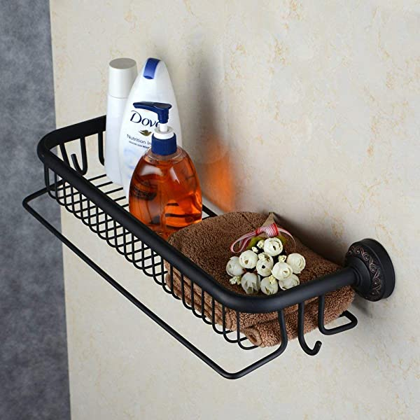 Hiendure Wall Mounted Solid Brass Bathroom Shelf Organizer With Towel Bar Oil Rubbed Bronze