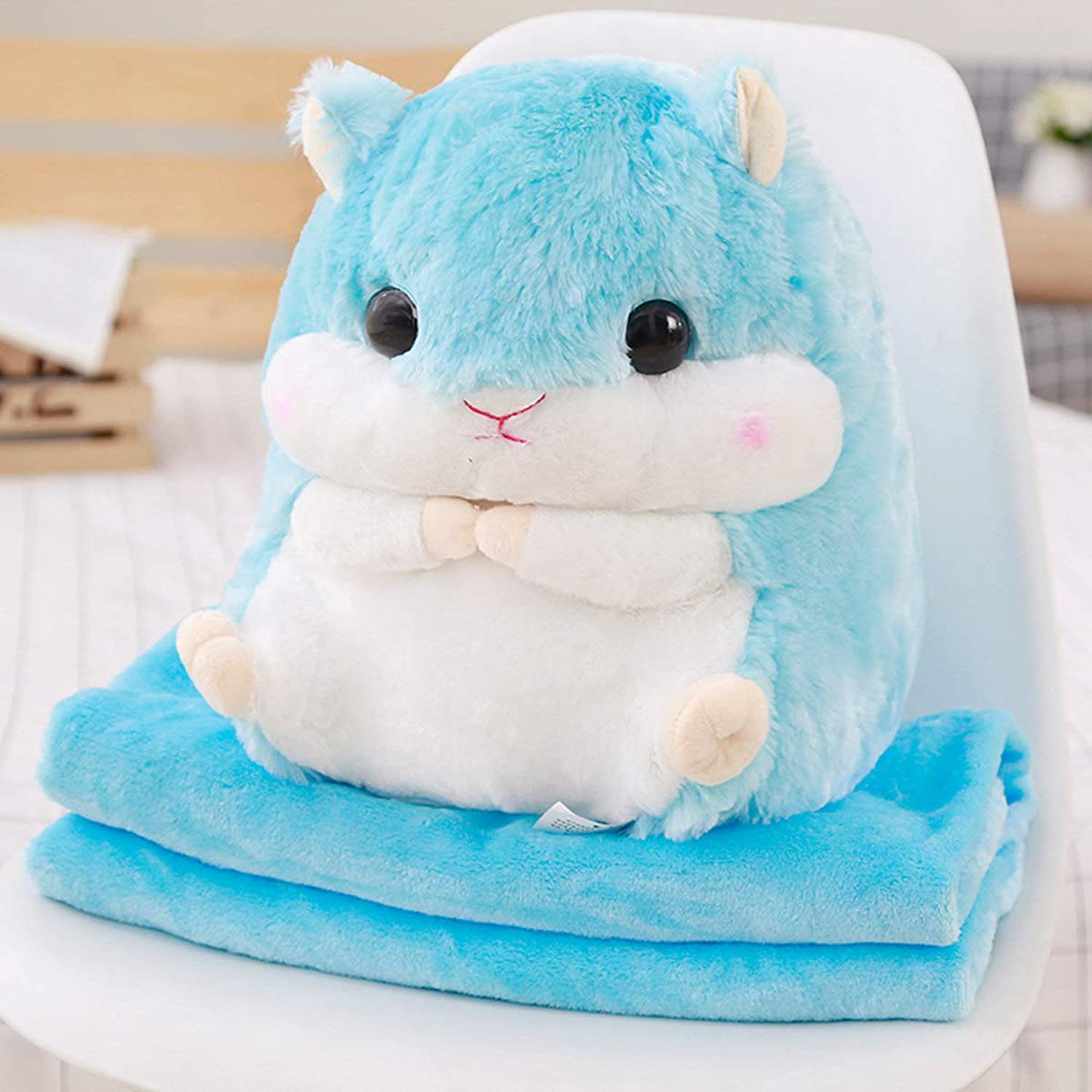 DONGER Hamster Doll Doll Hand Warmer Pillow Quilt DualUse Big Blanket Toy Hamster Birthday Gift, bluee