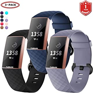 FunBand for Fitbit Charge 3 Strap Bands,Classic Edition Soft Silicone Sport Adjustable Accessory Bracelet Bands (Small or ...