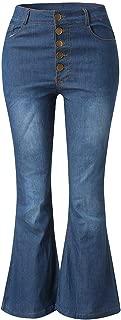 Women Denim Long Flare Pant High Waist Office Lady Zipper Trousers Slim Pantalones Button Trouser