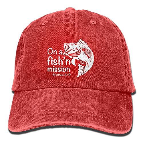Egoa Cap Fishing Mission Unisex Verstellbarer Baumwolldenim Hut gewaschen Retro Gym Hut Cap Hut