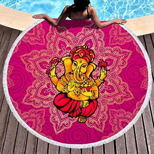 Ainiteey Terry Beach Roundie-Kreis-Picknick-Teppich-Yoga-Matte mit Quaste für Bad/Pool/Strand Elephant White 150cm