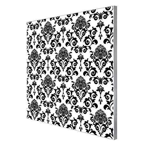 banjado Magnettafel aus Edelstahl   Memoboard magnetisch 50x50cm   Pinnwand mit Motiv Barock