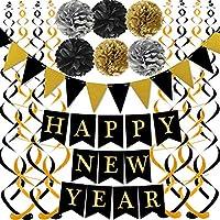 ブラックハッピーニューイヤー ゴールドブラックペーパーフラッグ バンティング スワールストリーマー ポンポン付き 新年パーティーデコレーション