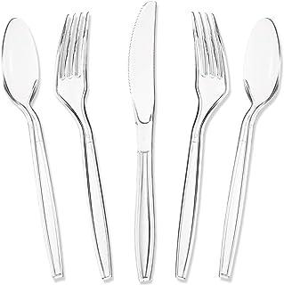 180piezas desechables–cubertería (–Heavy Duty–Tenedores–Cucharillas desechables de plástico cuchillos, claro