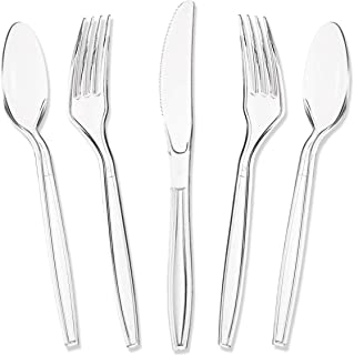 Juvale Plastic Knives and Silverware Set - 180-Piece Clear Plastic Cutlery Set, Heavy Duty Disposable Plastic Flatware Bulk Pack, Includes 60 of Each Forks, Spoons and Knives, BPA Free and Food Grade