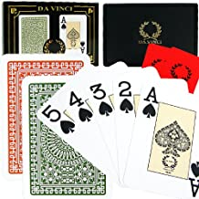 DA VINCI Italian 100% Plastic Playing Cards, 2 Deck Set with Hard Shell Case and 2 Cut Cards