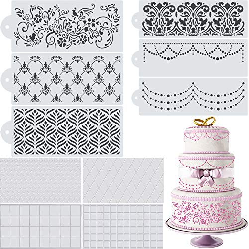 10 Pieces Wedding Cake Stencil Cake Decorating Templates Wedding Cake Decorative Flower Edge Molding Baking Tool for Cupcake Wedding Cake Decoration Supplies