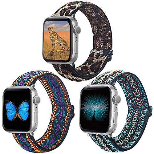 Dsytom 3 Pack Adjustable Nylon Solo Loop Elastic Band Compatible with Apple Watch Bands 38mm 40mm 42mm 44mm, Soft Strap Women Replacement Wristband for iWatch Series 6 5 4 3 2 1SE bands