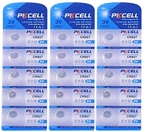 PKCELL 15 x CR927 3V Lithium Knopfzelle 30 mAh (3 Blistercards a 5 Batterien) Markenware FBA