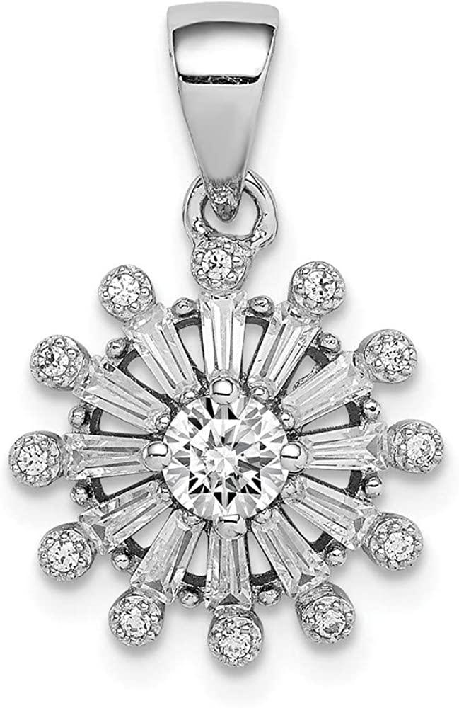 DiamondJewelryNY Sterling Charlotte Mall Silver Rhodium-Plated Baguette Cz Max 82% OFF Snow