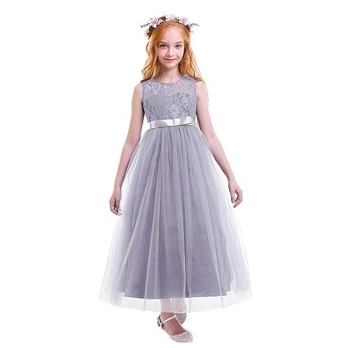 25ca9c42d3c7d OBEEII Fille Robe Floral Dentelle Sans Manches Robe Formelle Princesse  Tulle Longue Habiller pour Première Communion