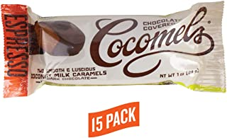 Cocomels Chocolate Covered Espresso Caramel Squares, Organic Candy, Dairy Free, Vegan, Gluten Free, Non-GMO, No High Fructose Corn Syrup, Kosher, Plant Based, (15 Two-Packs)