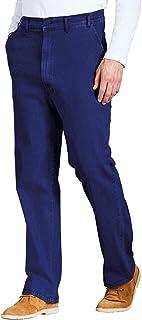 Mens HIGH-Rise Denim Elasticated Stretch Cotton Jean
