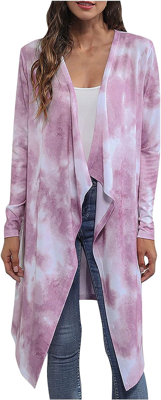Afelkas Cardigan Sweaters for Women Tie Dye Print Long Knitwear Casual Irregular Open Front Blouse Ladies Loose Jacket