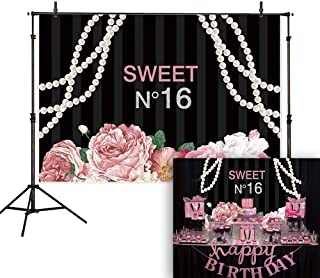 Allenjoy 7x5ft Floral Sweet 16 Backdrop Pink Flowers Black and White Stripes Pearl Jewelry Girl Adult Photography Background Birthday Party Decorations Cake Table Banner Photo Booth
