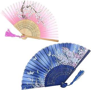 Abanicos Plegables2 Piezas Abanicos de Mano Plegable Seda de Bambú Abanicos para Fiestas Regalos de Boda Decoración de Br...
