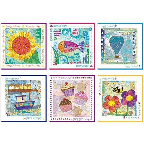 Set van 6 verjaardagskaarten, 14x14cm, elk met een gekleurde envelop en cellofaan Cover. Leeg binnen. (zonnebloem, vis, ballon, boot, cupcakes, bij))