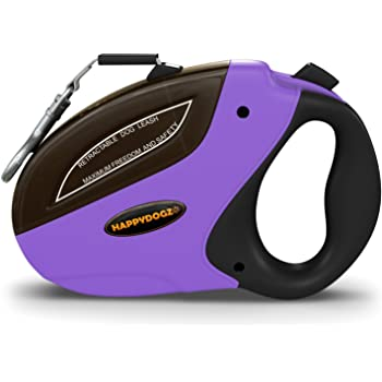 HappyDogz Security Pro Retractable Dog Leash - Heavy Duty Long Tangle Free 16ft Retracting Dog Walking Leash That Keeps Your Dog Safe, Happy and Free - for Small, Medium & Large Dogs up to 110lbs