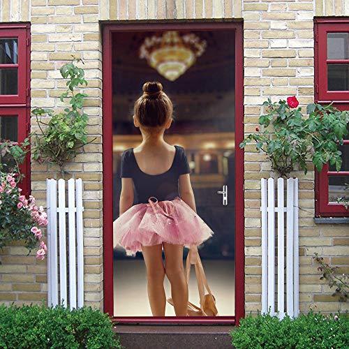Pegatinas Puerta 3D Ballet Papel Pintado Murales Autoadhesivo Decorativas Maderas Vinilo PVC Interior Baño Para Cocina Sala Adhesivos y Pegatinas de Pared Impermeable 77X200cm