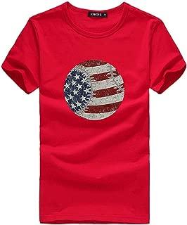 Realdo Womens Fashion T-Shirt Circle American Flag Print Short Sleeve O-Neck Top Blouse