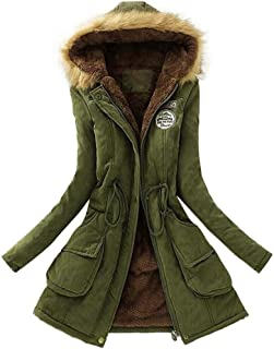 Gillberry Womens Warm Fur Collar Long Coat Hooded Slim Winter Parka Outwear Jacket
