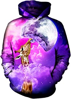 3D Print Kids Pullover Hoodies Forest Under The Galaxy Nebula Space Drawstring Casual Hooded Sweatshirts Tops with Pocket for Boys Girls