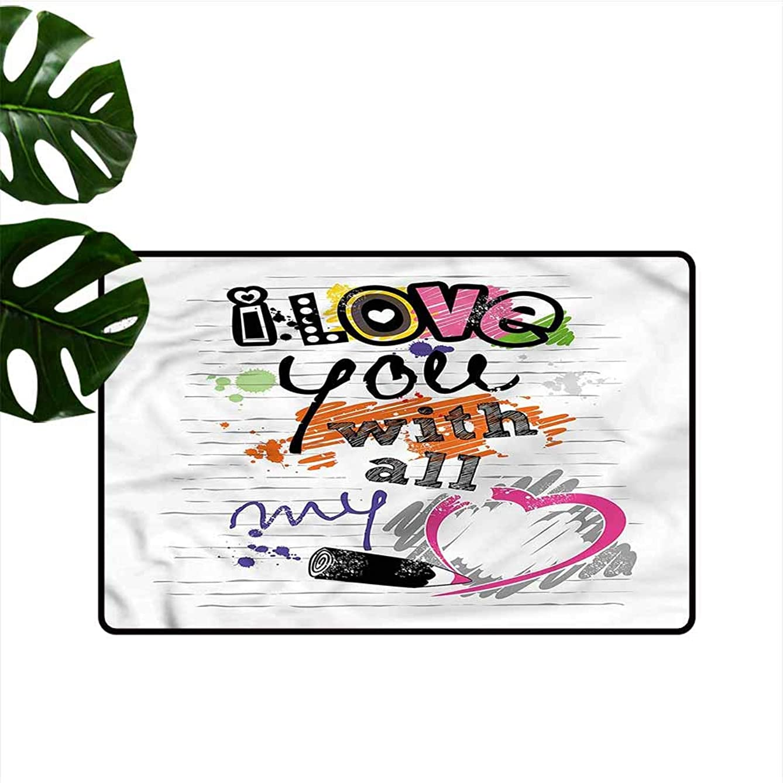 HOMEDD Doormat,Love Sktech Style Love Quote,Bathroom mat,24