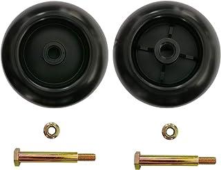Cancanle Juego de 2 ruedas de cubierta con hombro y tuerca de bloqueo para Craftsman Poulan para Husqvarna MTD 734-03058, ...