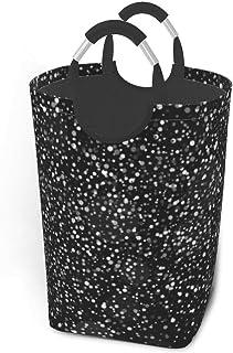Liumt Panier à Linge Brillant Argent Paillettes sur Fond Noir Panier à Linge Sale vêtements Sac Arc-en-Ciel échelles étoil...