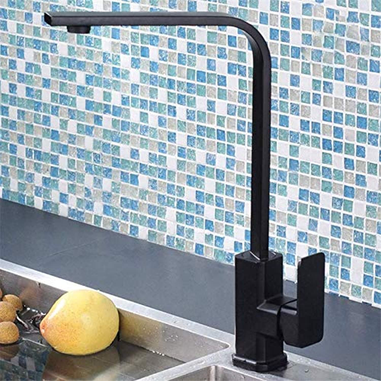 European Style Sprinkler Single Handle Kitchen wash Basin Black Faucet, Bathroom high Square Flat Tube Sink Faucet with Standard Accessories