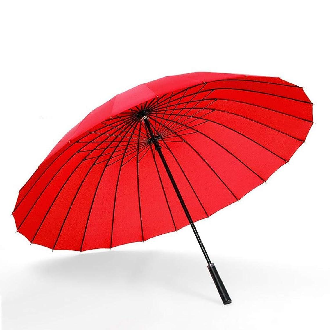 追う方法真似るYSYYSH ロングハンドル傘黒ストレートハンドル防風ビジネス傘24骨の大規模な二重補強抗嵐赤85 CMマニュアル クラシック傘