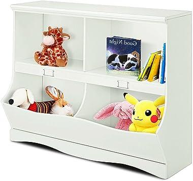 White 2 Shelves 2 Cubbies Kids Children Multi-Bin Storage Organizer Storage Cabinet Multifunctional Storage Unit Spacious Boo
