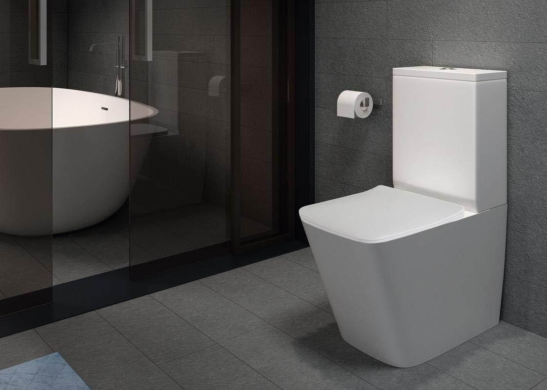 Pack WC de Inodoro Square compacto adosado a la pared con salida dual y sistema rimless: Amazon.es: Bricolaje y herramientas