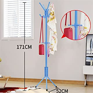 Yxsd Free-Standing Coat Rack Entry-Way - Metal Base Tree Stand Holder with Hooks for Hanging Jacket Hat Umbrella,Blue 67.3'' H