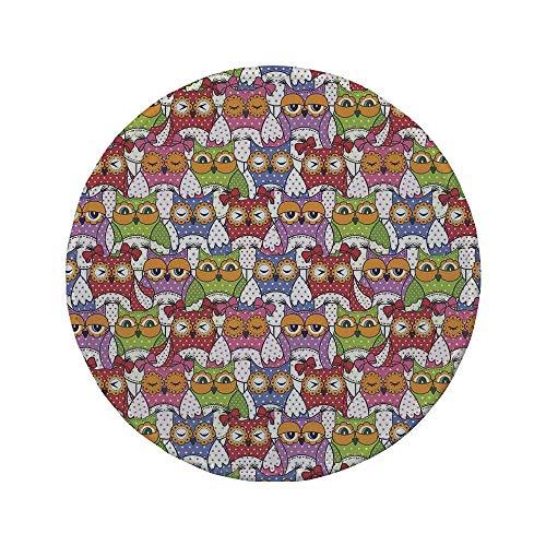 Rutschfreies Gummi-rundes Mauspad Eulen-Wohnkultur verzierte Eulen-Menge mit verschiedenen Sehenswürdigkeiten und Tupfen wie Matroschka-Puppen Fun Retro Theme Multi 7,9 'x 7,9' x3MM