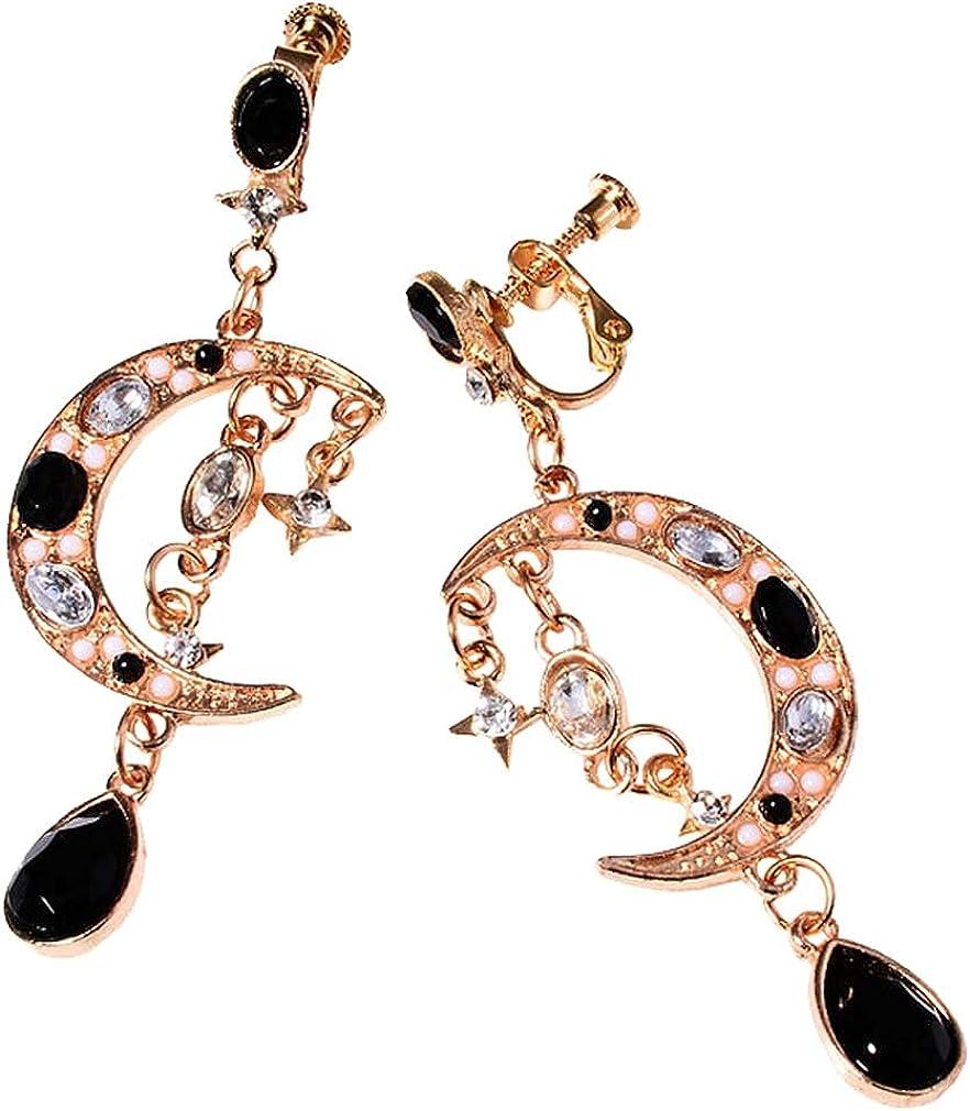 Boho Moon and Falling Star Clip on Earrings for Women Girls Bride Non Pierced Cuffs Ears Jewelry Fashion Long Tassel Rhinestone Dangle Drop Ladies Earring Art Deco Wedding Birthday Prom Gifts