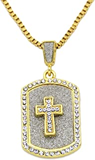 LoveBIG Cross Mark Emoji Gold Tone Hip-Hop Men and Women Pendant Necklace, 24 Inch Box Chain