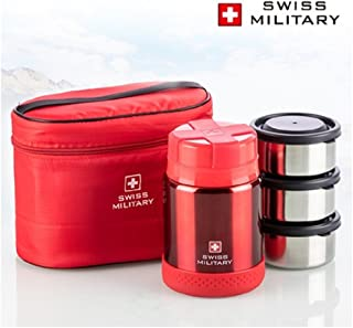 Swiss Military Premium Vacuum Thermos Lunchbox - 470ml - 3 Stage Food Container 200ml x 3P - Red