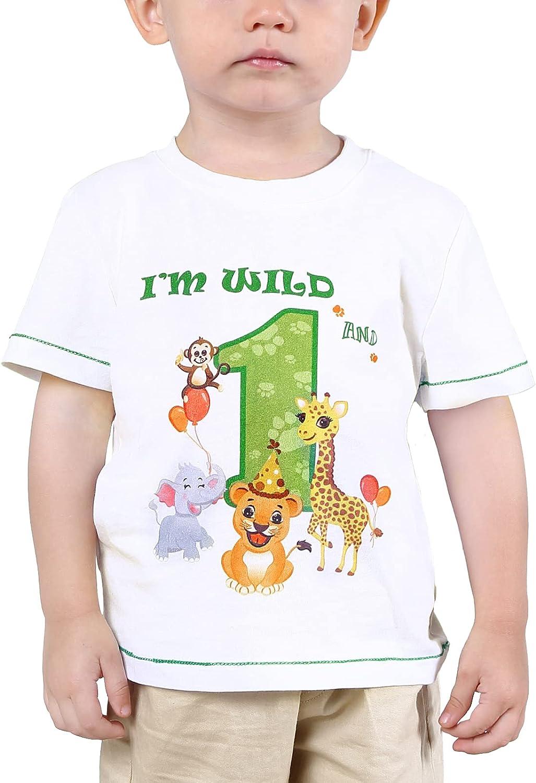 Baby Boy 1st Birthday T-Shirt - I'm Wild and 1 Jungle Animals Birthday Top Tee