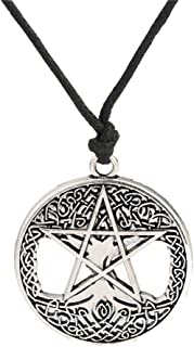 Wicca Religious Tree of Life Pentacle Celtic Knot Hollow Pendant Necklace Jewelry (Antique Silver)