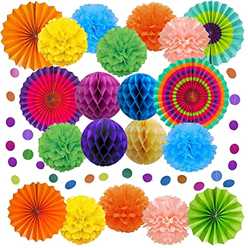 21 Piezas Decoración de la Fiesta Abanicos de Papel Bola de Nido Pom Poms Ventilador, Decoración Fiesta Abanicos de Papel Flores Pompom Bolas, para Celebración Fiesta Cumpleaños, Boda, Nacimiento