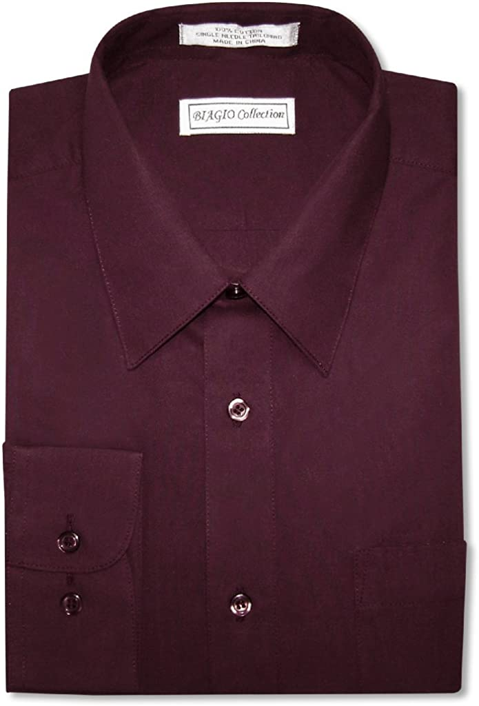 Biagio Men's 100% Cotton Solid Burgundy Color Dress Shirt w/Convertible Cuffs